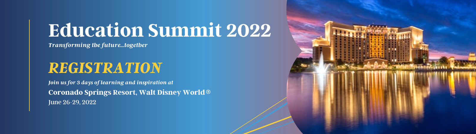 Banner featuring Coronado Springs Resort at Walt Disney World for the Pegasus Springs Education Collective Education Summit 2022